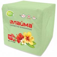 Салфетки бумажные 100 шт., 24х24 см, ЛАЙМА, зеленые (пастель), 100% целлюлоза, 111791