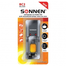 Зарядное устройство SONNEN BC2, для 2-х аккумуляторов АА или ААА (Ni-Mh), в блистере, 454238