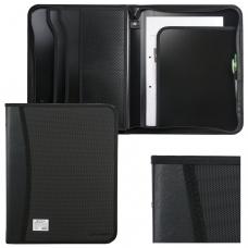 Папка на молнии пластиковая BRAUBERG, А4, 350х282х33 мм, 2 отделения, 4 кармана, бизнес-класс, черная, 225166
