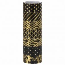 Клейкие WASHI-ленты для декора с фольгой 'ЧЕРНОЕ ЗОЛОТО', 15 мм х 3 м, 7 шт., рисовая бумага, ОСТРОВ СОКРОВИЩ, 661714