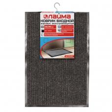 Коврик входной ворсовый влаго-грязезащитный ЛАЙМА, 60х90 см, ребристый, толщина 7 мм, черный, 602869