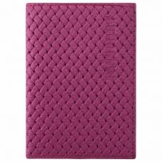 Обложка для паспорта натуральная кожа плетенка, 'PASSPORT', розовая, STAFF, 237203