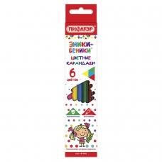 Карандаши цветные ПИФАГОР 'ЭНИКИ-БЕНИКИ', 6 цветов, классические заточенные, 181345