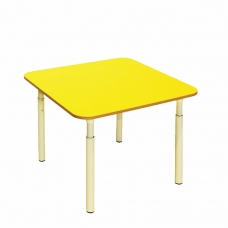 Стол детский 'Дошколенок', 700х700х400-580 мм, регулируемый, рост 0-3 85-145 см, пластик, желтый, слоновая кость