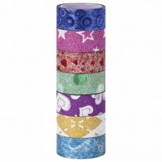 Клейкие ленты полимерные для декора с блестками УЗОРЫ, 15 мм х 3 м, 7 цветов, ОСТРОВ СОКРОВИЩ, 661718