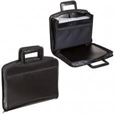 Портфель-папка пластиковая BRAUBERG А4+ 355х290х60 мм, выдвижные ручки, 8 отделений, 2 карманов, на молнии, черный, 225168