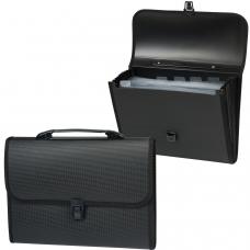 Портфель пластиковый STAFF А4 330х235х50 мм, 7 отделений, с окантовкой, индексные ярлыки, черный, 221206
