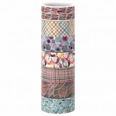 Клейкие WASHI-ленты для декора 'Микс №3', 15 мм х 3 м, 7 цветов, рисовая бумага, ОСТРОВ СОКРОВИЩ, 661711