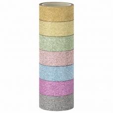 Клейкие ленты полимерные для декора с блестками ПАСТЕЛЬ, 15 мм х 3 м, 7 цветов, ОСТРОВ СОКРОВИЩ, 661716