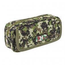 Пенал BRAUBERG для мальчиков, 2 отделения, полиэстер, Military, зеленый, 21х5х9 см, 228990