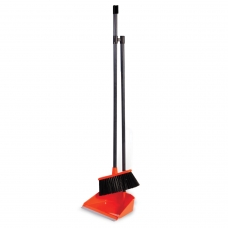 Совок для мусора 25х20 см + щетка-сметка 20х8 см на длинных рукоятках 80 см, пластик, оранжевый, IDEA, М 5177
