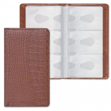 Визитница/кредитница трехрядная BRAUBERG 'Cayman', на 96 карт, под кожу крокодила, коричневая, 231762