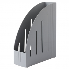 Лоток вертикальный для бумаг BRAUBERG 'Energy' 261х85х300 мм, эргономичная форма, серый, 231548