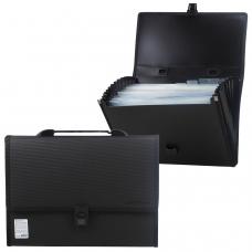 Портфель пластиковый BRAUBERG 'Дипломат', А4 332х245х35 мм, 13 отделений, с окантовкой, фактура бисер, черный, 226025