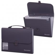 Портфель пластиковый BRAUBERG А4 327х254х30 мм, 13 отделений, индексные ярлыки, серый, 221438