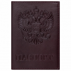 Обложка для паспорта натуральная кожа 'Virginia', 'Герб', бордовая, BRAUBERG, 237199