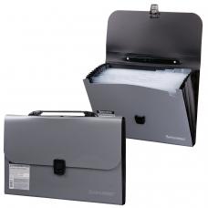 Портфель пластиковый BRAUBERG А4 327х254х30 мм, 13 отделений, индексные ярлыки, фактура диагональ, серебристый, 221442
