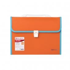 Портфель пластиковый BRAUBERG 'Joy', А4 330х245х35 мм, 13 отделений, с окантовкой, индексные ярлыки, оранжевый, 227975