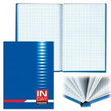 Блокнот А5 135х206 мм, 96 л., твердый переплет, ламинированная обложка, клетка, BRAUBERG, 'INDAY blue', 121929