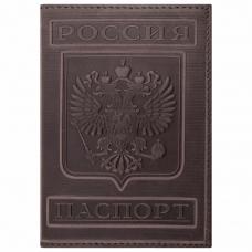 Обложка для паспорта натуральная кожа гладкая, 'Герб', вертикальная, коньяк, BRAUBERG, 237190