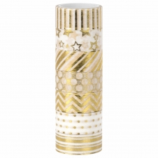 Клейкие WASHI-ленты для декора с фольгой ЗОЛОТИСТЫЕ, 15 мм х 3 м, 7 шт., рисовая бумага, ОСТРОВ СОКРОВИЩ, 661712