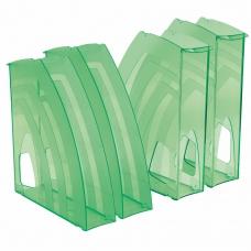 Лотки вертикальные для бумаг, КОМПЛЕКТ 4 шт., 240х70х270 мм, тонированный зеленый, BRAUBERG 'Ultra', 237236
