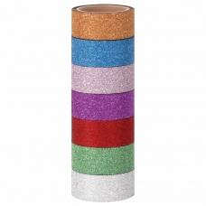 Клейкие ленты полимерные для декора с блестками 'ИНТЕНСИВ', 15 мм х 3 м, 7 цветов, ОСТРОВ СОКРОВИЩ, 661715