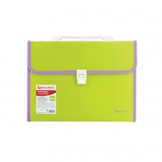 Портфель пластиковый BRAUBERG 'Joy', А4 330х245х35 мм, 13 отделений, с окантовкой, индексные ярлыки, салатовый, 227974