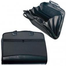 Портфель-папка пластиковая BRAUBERG А4+ 375х305х60 мм, бизнес-класс, 4 отделения, 2 кармана, на молнии, черный, 225169