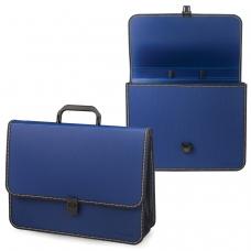 Портфель пластиковый BRAUBERG 'Консул', А4 370х280х120 мм, 2 отделения, с окантовкой, фактура бисер, синий, 226021