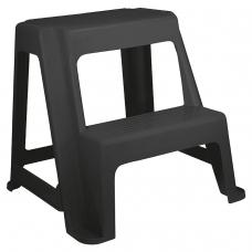 Стремянка-табурет, 2 ступени, стационарная, пластиковая, нагрузка 120 кг, вес 2,4 кг, серая/графит, IDEA, М 2296
