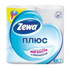 Бумага туалетная бытовая, спайка 4 шт., 2-х слойная 4х23 м, ZEWA Plus, белая, 144051