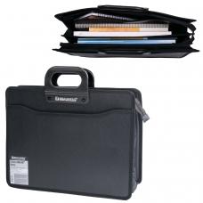 Портфель пластиковый BRAUBERG А4+ 390х320х120 мм, 4 отделения, с окантовкой, фактура под дерево, черный, 221391
