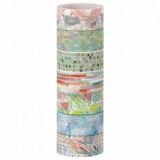 Клейкие WASHI-ленты для декора 'Микс №1', 15 мм х 3 м, 7 цветов, рисовая бумага, ОСТРОВ СОКРОВИЩ, 661709