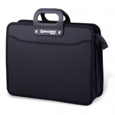 Портфель пластиковый BRAUBERG 'Премьер', А4 390х315х120 мм, 3 отделения, на молнии, фактура бисер, черный, 223082