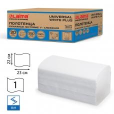 Полотенца бумажные 250 шт., LAIMA H3, UNIVERSAL WHITE PLUS, 1-слойные, белые, КОМПЛЕКТ 20 пачек, 23х21, V-сложение, 111344