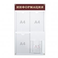 Доска-стенд 'Информация' 48х80 см, 3 плоских кармана А4 + объемный карман А5, BRAUBERG, 291100