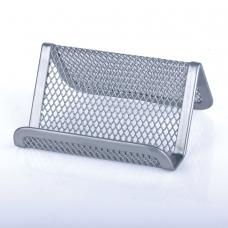 Подставка для визиток настольная BRAUBERG 'Germanium', металлическая, серебристая, 231943