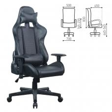 Кресло компьютерное BRABIX 'GT Carbon GM-115', две подушки, экокожа, черное, 531932