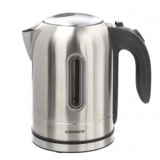 Чайник SONNEN KT-1755, 1,7 л, 2200 Вт, закрытый нагревательный элемент, нержавеющая сталь, 453419