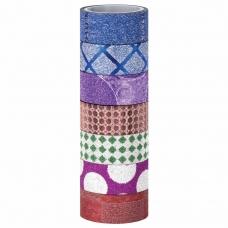 Клейкие ленты полимерные для декора с блестками 'ГЕОМЕТРИЯ', 15 мм х 3 м, 7 цветов, ОСТРОВ СОКРОВИЩ, 661717