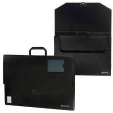 Портфель пластиковый БОЛЬШОГО ФОРМАТА А3 445х310х30 мм, BRAUBERG 'Портфолио', без отделений, черный, 226023
