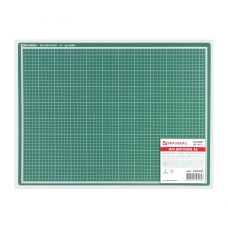 Мат для резки BRAUBERG, 3-слойный, А2 600х450 мм, двусторонний, толщина 3 мм, зеленый, 236903