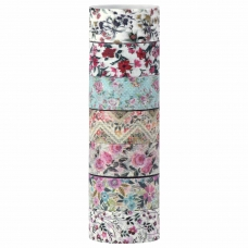 Клейкие WASHI-ленты для декора 'ЦВЕТОЧНЫЙ МИКС', 15 мм х 3 м, 7 цветов, рисовая бумага, ОСТРОВ СОКРОВИЩ, 661707