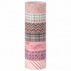 Клейкие WASHI-ленты для декора ОТТЕНКИ РОЗОВОГО, 15 мм х 3 м, 7 цветов, рисовая бумага, ОСТРОВ СОКРОВИЩ, 661704