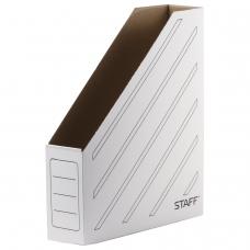 Лоток вертикальный для бумаг 260х320 мм, 75 мм, до 700 листов, микрогофрокартон, STAFF, БЕЛЫЙ, 128881