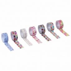 Клейкие WASHI-ленты для скрапбукинга и декора бумажные, 'Микс №2', 15 мм * 3 м, 7 цветов, комплект, ОСТРОВ СОКРОВИЩ, 661710