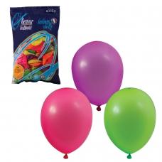 Шары воздушные 10' 25 см, комплект 100 шт., 12 неоновых цветов, в пакете, 1101-0002