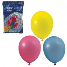 Шары воздушные 10' 25 см, комплект 100 шт., 12 пастельных цветов, в пакете, 1101-0003