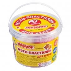 Пластилин на растительной основе тесто для лепки ПИФАГОР, 7 цветов, 420 г, пластиковое ведро, 104545